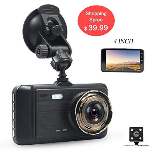 DareTang 4 Inch LCD Screen Dual Lens Front and Rear Car Dash Cam FHD 1080P Dashboard Camera with G-Sensor Parking Monitor WDR Loop Recording Night Vision Driving DVR Recorder(Black)