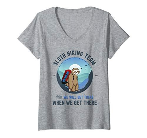 Team Womens V-neck - Womens Sloth Hiking Shirt, Sloth Hiking Team V-Neck T-Shirt