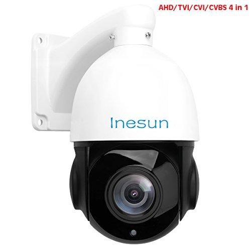 Inesun 2MP AHD PTZ Security Camera 18X Optical Zoom HD 1080p 4-in-1 TVI/AHD/CVI/CVBS Video Surveillance Dome Camera - Waterproof, Night Vision, Medium Speed, Coaxial System
