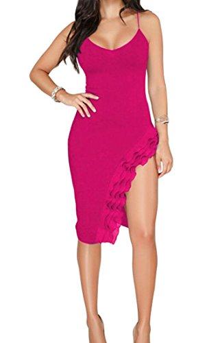 Domple Femmes Hérissent Bodycon Fente Côté Classique Dos Ouvert Robe Mini Clubwear Rose