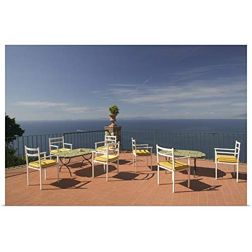 (GREATBIGCANVAS Poster Print Entitled Empty Tables and Chairs on The Balcony of a Hotel, Ceasar Augustus Hotel, Anacapri, Capri, Bay of Naples, Campania, Italy by 18