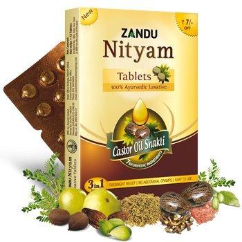 Zandu Nityam Tablets (100% Ayurvedic laxative) - (15 Pack of 12 tablets each)