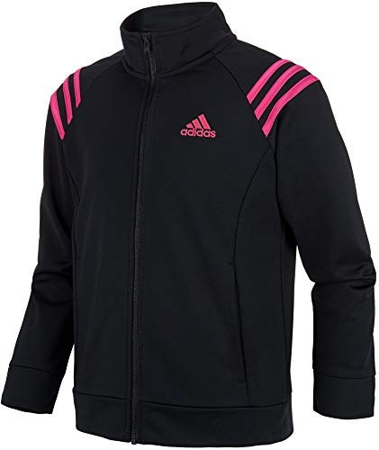 adidas Girls' Athletic Event Jacket Full Zip Comfortable Fit Tricot Sports Jackets with Side Pockets (Black/Large)