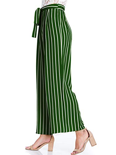 Design by Olivia Women's Stripe Print Waist Self Bow Tie Crepe Long Pants,Ipaw035 Green,Small