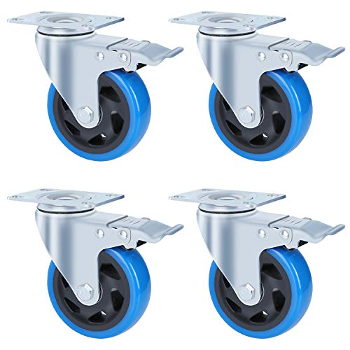 Femor 4 inch Medium Heavy Duty Swivel Caster Wheels, Plate Casters Set of 4 with Brakes for Furniture, Carts, Dolly,Trolley- 330 Lbs Per Caster, Blue