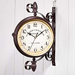 XIAOMEI Wrought Iron Antique Double Sided Wall Clock Brown Round Wall Hanging Two Faces Retro Wall Clocks-Brown