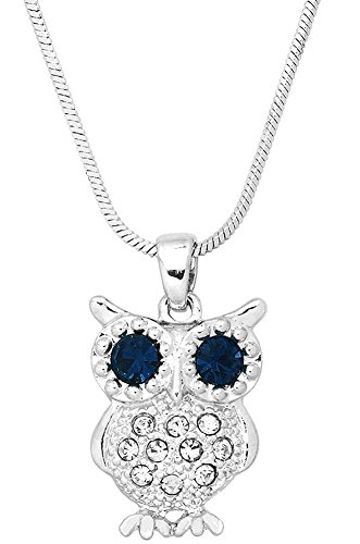 Cute Crystal Owl Pendant Silver Tone Necklace Fashion Jewelry - Choose your color (Dark Blue)