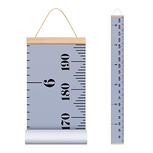 EHZNZIE Baby Height Growth Chart Ruler for Kids, Wall Wood Frame and Canvas Room Decoration-78.7'x7.87'' (Grey) ()