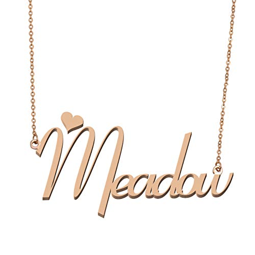 (Aoloshow Customized Custom Name Necklace Personalized - Custom Made Meadow Necklace Initial Monogrammed Gift for Womens Girls)