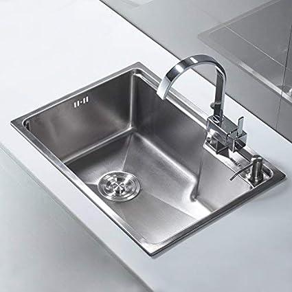 AuraLum Lavello cucina 1 vasca satinato Cucina in acciaio inox ...