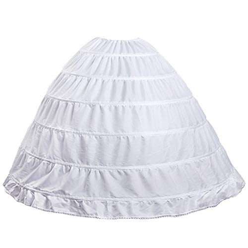 6 Hoop Crinoline Underskirt Petticoat Full A-line Floor Length Bridal Dress Ball Gown Slip for Women White