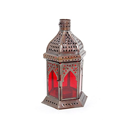 (Insideretail Moroccan Style Lantern with a Copper Antique Finish and Red Glass, 11 by 10 by 19cm, Set of 2)