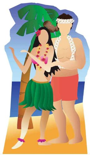 Hawaiian Couple Stand-in - Beach Party Lifesize Cardboard Cutout / Standee / Standup by Starstills UK - Themed Cardboard Stand-Ins