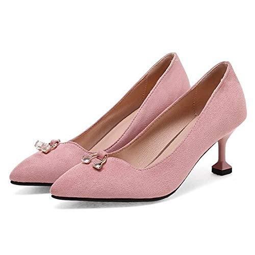 ZHZNVX Zapatos de Mujer Suede Fall Basic Pump Heels Stiletto Heel Black/Pink / Khaki Pink