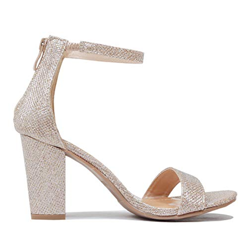 TOP Moda Women's Hannah-1 Ankle Strap High Heel Sandal Champagne 10 M US