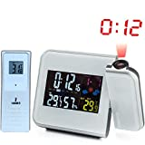 Digital Projection Alarm Clock Weather Station with Temperature Thermometer Humidity Hygrometer/Bedside Wake Up