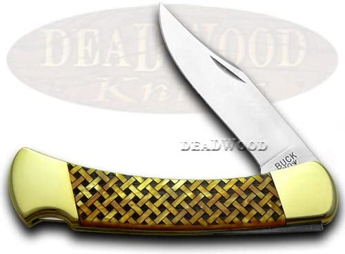 BUCK 110 Custom Gold Corelon Basketweave 1 400 Folding Hunter Knives