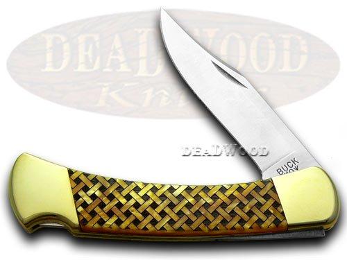 BUCK 110 Custom Gold Corelon Basketweave 1 400 Folding Hunter Knives