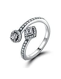 PAHALA 925 Sterling Silver Classic Round Square Open Crystals Cubic Zirconia Vintage Wedding Engagement Band Ring
