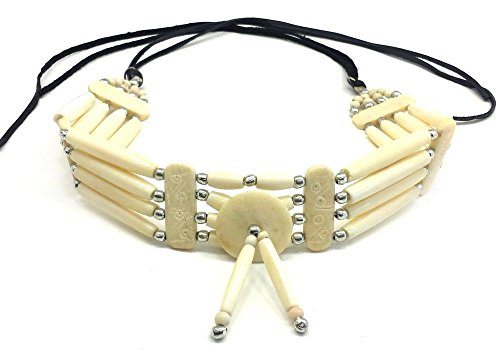 - Handmade Traditional 4 Line White Buffalo Bone Hairpipe Tribal Choker Necklace