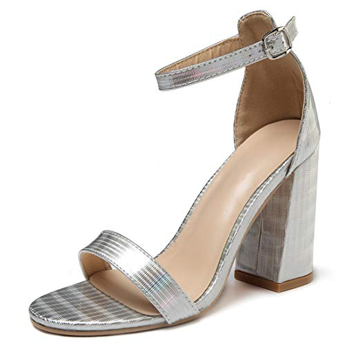 Women's High Heel Platform Dress Pump Sandals Ankle Strap Block Clear Chunky Heels Holidays Party Shoes - 8 Silver