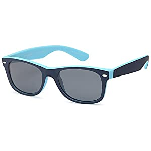 GAMMA RAY Classic Polarized Sunglasses for Kids Ages 5-10 – Blue Frame Gray Lens