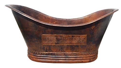 Mexican Copper Bathtub Hand hammered Fleur de Lis Soaking Tub Double Slipper 72 inches Copper Double Slipper Bathtub