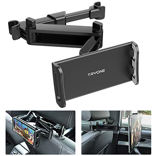 "Car Headrest Tablet Mount - Tryone Stretchable Tablet Headrest Holder Compatible with Smartphones/Tablets/Switch 4""-10.6"", Headrest Posts Width 4.7in-5.9in"