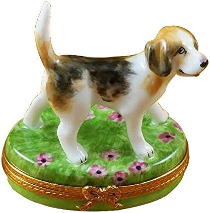 BEAGLE – LIMOGES BOX AUTHENTIC PORCELAIN FIGURINE FROM FRANCE