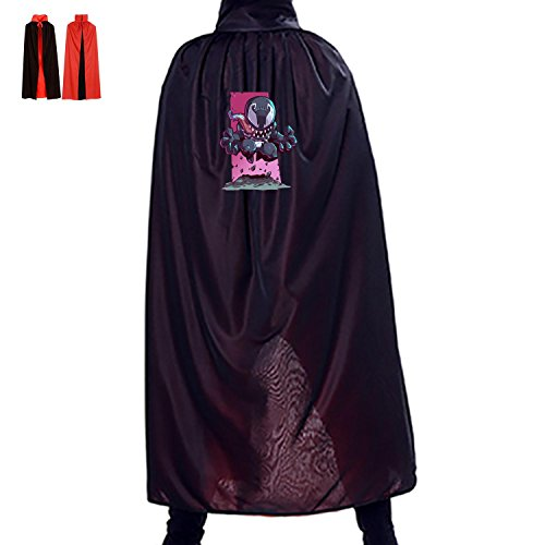 All Saints' Day Witch Accessory Manteau Reversible Costumes Print With Venom For Boys Girls Spoof In Halloween (Black)