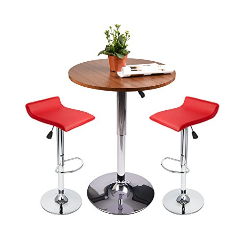 (Round Bar Table Adjustable Height Chrome Metal and Wood Cocktail Pub Table MDF Top 360°Swivel Furniture (1 Brwon Wood Table+ 2 Red)