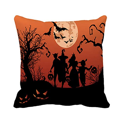 Awowee Throw Pillow Cover Moon Halloween Silhouettes of Children Trick Treating in Costume 16x16 Inches Pillowcase Home Decorative Square Pillow Case Cushion -