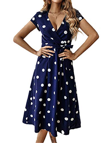- PRETTYGARDEN Women's Casual Wrap V Neck Short Sleeves Polka Dot Printed Boho Beach Midi Dress with Belt (Navy, Small)