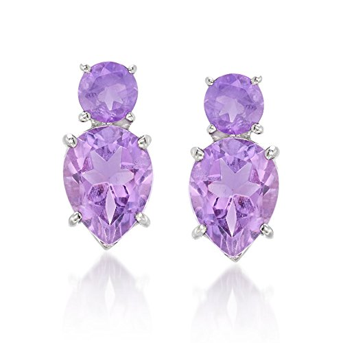 - Ross-Simons 4.00 ct. t.w. Amethyst Stud Earrings in Sterling Silver