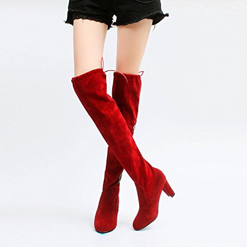 Over High New Knee Red Boot Shoes Women's Thigh Toamen Rose Autumn Boots Women Boots Fashion Winter Heels High The Embroider wgv7na8Hq