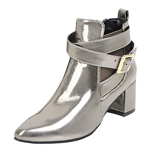 LIM&Shop ⭐ Women's Closed Toe Faux Suede with Faux Leather Buckle Strap Chunky Stacked Heel Ankle Boot Block Short Boot Silver