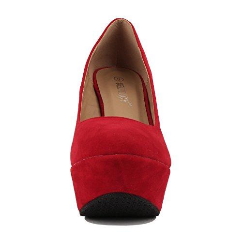 Trendy Delicacy Platform 33 Shoes Red On Slip Heel Wedge Suede High Pump wUxgwTq