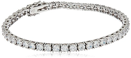 Platinum Or Gold-Plated Sterling Silver Swarovski Zirconia Round-Cut Tennis Bracelet