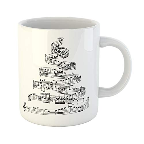 Semtomn Funny Coffee Mug Song Christmas Tree From Music Notes Sheet Draw Xmas Score 11 Oz Ceramic Coffee Mugs Tea Cup Best Gift Or Souvenir -
