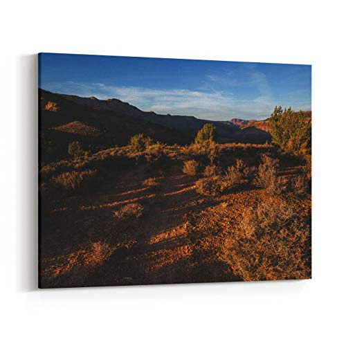 Rosenberry Rooms Canvas Wall Art Prints - A Narrow ATV Trail Cuts Through Sage and Juniper Trees in Southern Utah Just Before Sunset in The Distance The Steep Red Cliffs of Kolob (24 x 20 inches) (Best Atv Trails In Utah)