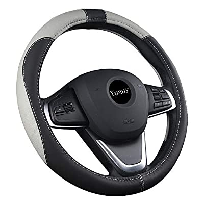 Yuauy 15inch Auto Car Steering Wheel Cover Microfiber Leather Breathable Anti-Slip Universal Steering Wheel Cover (Black&Gray): Automotive