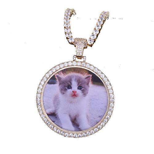 MoCa Jewelry Personalized Custom Photo Medallions Necklace & Pendant 18K Gold Silver Cubic Zircon Hip hop Jewelry Dog Tag Necklace for Men Women, Photo Replaceable -
