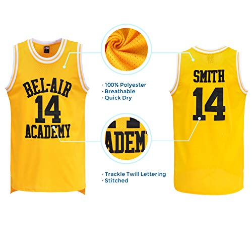 47bf6f4ea MOLPE Smith  14 Bel Air Academy Yellow Basketball Jersey S-XXXL