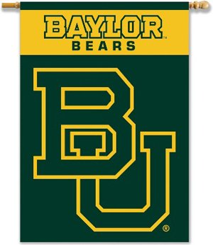 Two Sided Hanging Banner Flag - NCAA Baylor Bears 2-Sided Banner with Pole Sleeve, 28 x 40-Inch