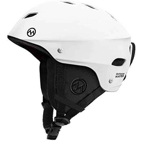 OutdoorMaster Ski Helmet - with ASTM Certified Safety, 9 Options - for Men, Women & Youth (White,M)