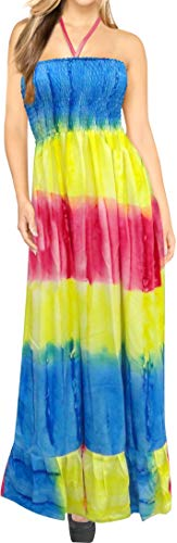 (LA LEELA Soft  Tie Dye Tube Dress Womens Vacation Strapless M077 321 One Size)