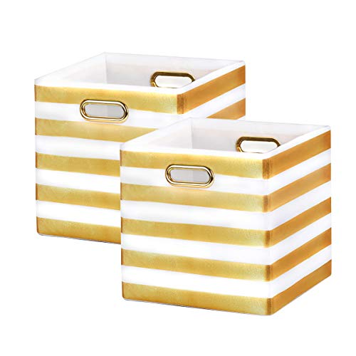 BAIST Cube Storage Bins,Nice Foldable Square Gold Fabric Decorative Cubby Storage Cubes Bins Baskets for Nursery Bedroom First Day of School Shelf 2-Pack,White Stripe