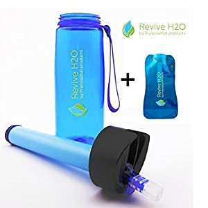Revive H2O All Purpose Filter Water Bottle Set - Includes Squeeze Bottle and Adapter - Filters 1500 Litres - For Everyday Use, International Travel, Sport and Survival - Antibacterial Carbon Filter + Hollow Fibre Membrane - BPA Free