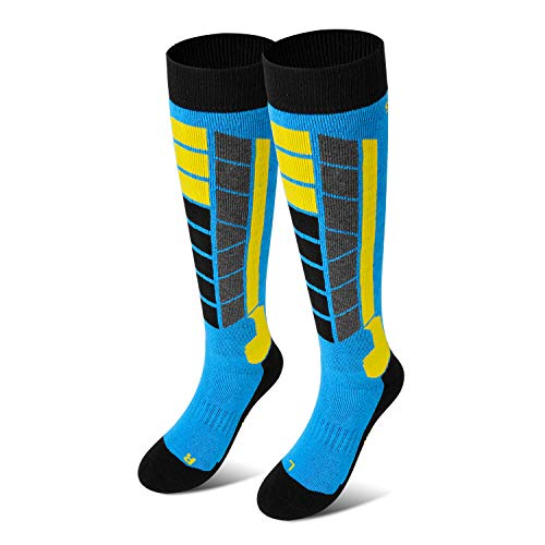 Soared Winter Ski Socks Snowboard Snow Warm Knee Over The Calf OTC High Performance 2 Pairs for 3-8 Years Old Kids Blue (Pack Kids Socks Ski)