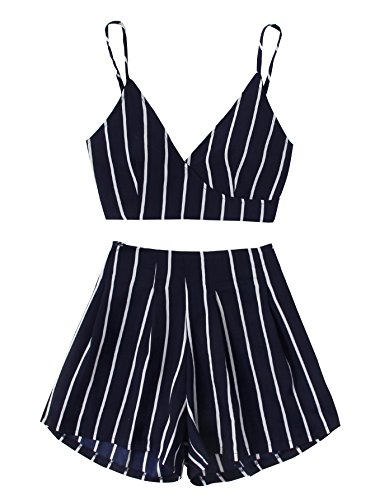 MAKEMECHIC Women's 2 Piece Outfit Summer Striped V Neck Crop Cami Top with Shorts Navy M